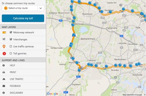 toll-road-calculator-map